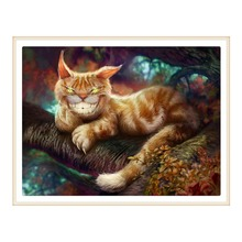 5D DIY diamond painting all-round / round kitten embroidery cross stitch gift home decoration