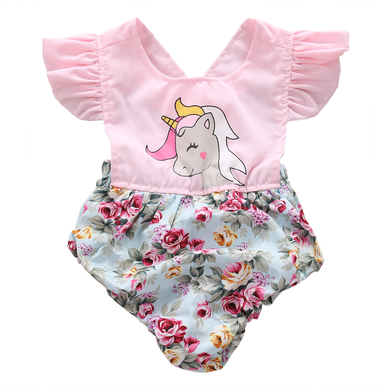Infant Baby Girls Floral Polka Dot Romper Clothes Ruffles Cartoon Patchwork Jumpsuit Outfits Summer Cotton Clothes Pink 0-24M