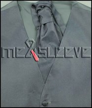 New silver Five Button Tuxedo Vest with Matching ascot tie