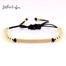 WML Trendy Braided bead men Bracelets & Bangles CZ Long Tubes 4MM Copper Beads Macrame Jewelry bracelet for women