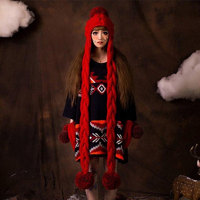 Красная Шапочка и Перчатки Милые Женщины Зима Теплая Ручной Шапка Шапки