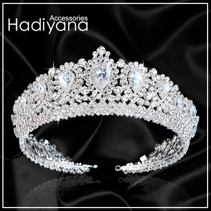 Hadiyana New Bling Wedding Crown Diadem Tiara With Zirconia Crystal Elegant Woman Tiaras and Crowns For