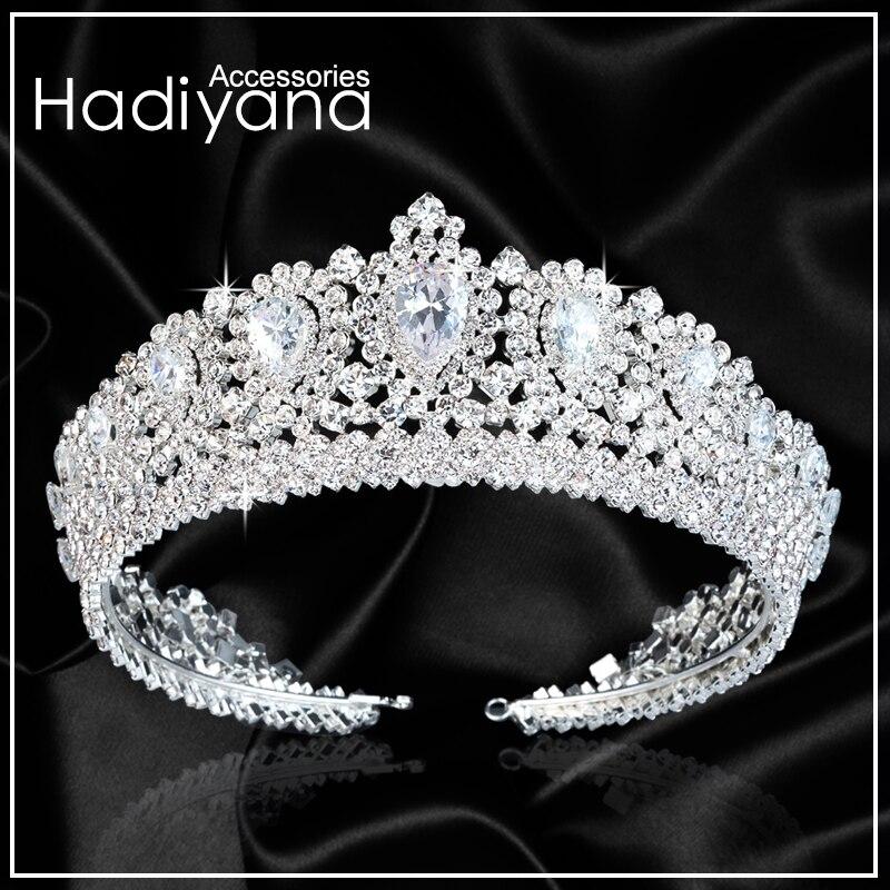 Hadiyana Nouvelle Bling De Mariage Couronne Diadème Diadème Avec Zircon Cristal Élégant Femme Diadèmes et Couronnes Pour Pageant Partie BC3232