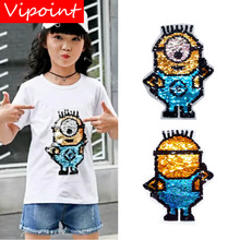 VIPOINT embroidery Sequins big Minions patches cartoon badges applique for clothing ZM-65
