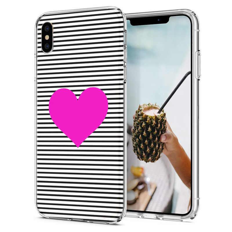 Capa de telefone macio para iphone 6 7 xs max capas tpu colorido flora rosa amor coração padrão caso fundas para iphone x xr f082