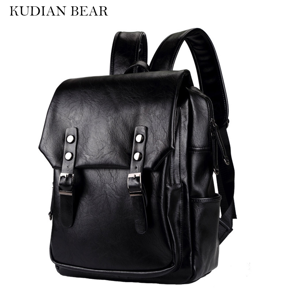 KUDIAN BEAR Leather Men Backpack College Student School Backpack Casual Rucksack Bags Vintage Travel Daypack--BIE049 PM49 high quality fashion rock band backpack for teenage women men casual daypack college student preppy school backpack travel bags
