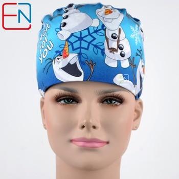 Hennar Cotton Surgical Caps . Unisex Blue Pink Print Medical Surgical Caps Cotton Hospital Nurse Hat Men Women Medical Mask