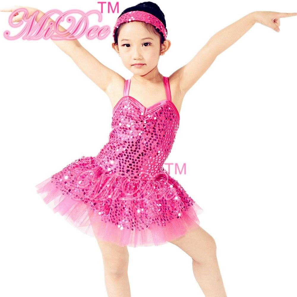 MiDee Hot Sequined Ballet Tutus Ballerina Tutu Fancy Dress para Ballet Swan Lake Pink Dress para niñas