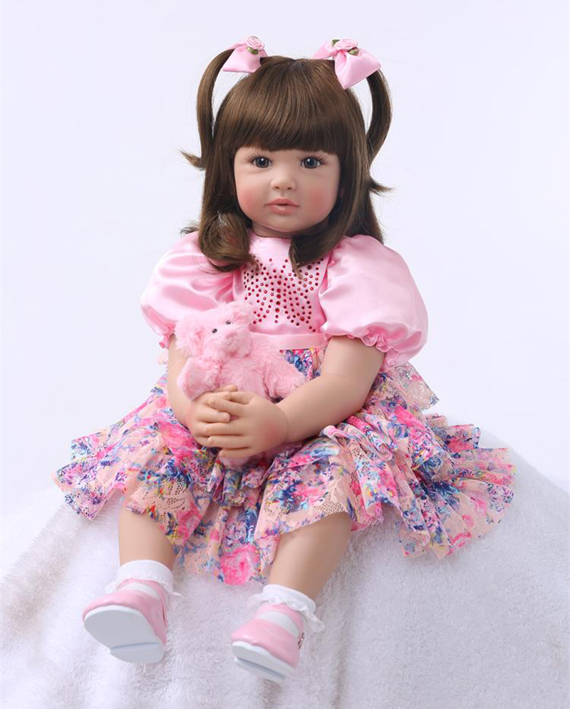 Pursue 24/60 cm Colorful Dress Reborn Babies Doll Princess Girl Baby Doll Soft Vinyl Silicone Lifelike Toddler Doll Toys Gift pursue 24 60 cm soft cotton body silicone vinyl reborn baby doll lifelike princess toddler baby doll girls for christmas gift