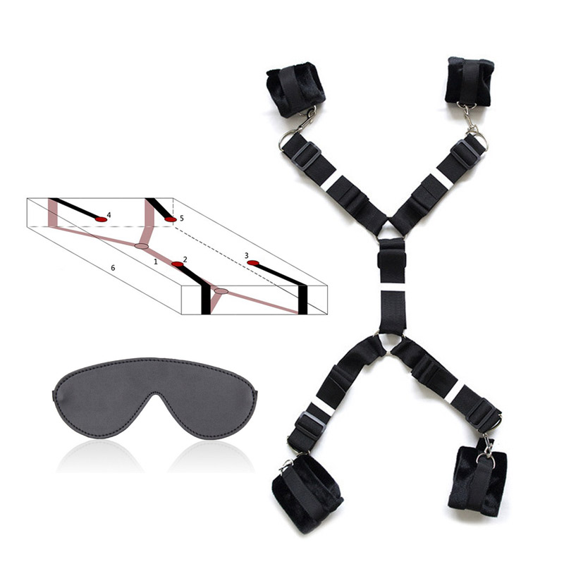 Bed Restraints System Strap Belts Handcuff Ankle Cuffs Eyepatch Bondage Eye Mask Adult BDSM Game Sex Product
