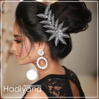 Hadiyana Bright Zircon Leaves Hair Pin Barrette Clips Fashion Side Hairpin Accessory Hairpin Headpiece For Women BC4733