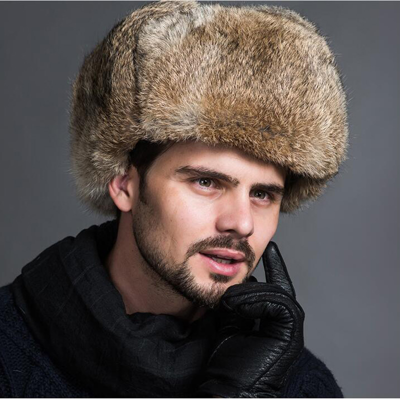 Natural rabbit fur Lei Feng hat men's hat autumn and winter warmth thickening Russian fur real rabbit fur earmuffs cap