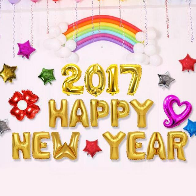 12pcsbag party balloons decorations happy new year balloon letters aluminum foil balloons new year