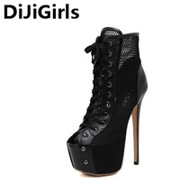 Women Summer Boots Ankle Booties High Heel Platform Ankle Boots Lace Up Motorcycle Boots Open Toe
