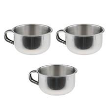 3pcs Premium Quality Lightweight Stainless Steel Men Beard Shaving Mugs Bowls Cups