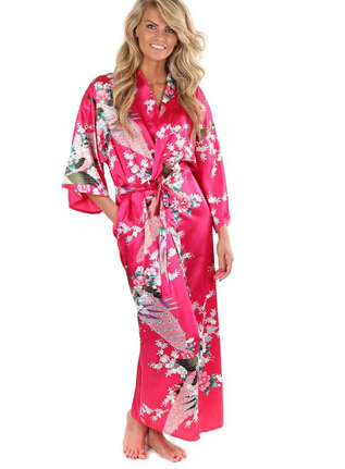 2015 Silk Bathrobe Women Satin Kimono Robes For Women Floral Robes Bridesmaids Long Kimono Robe Bride Silk Robe Dressing Gown
