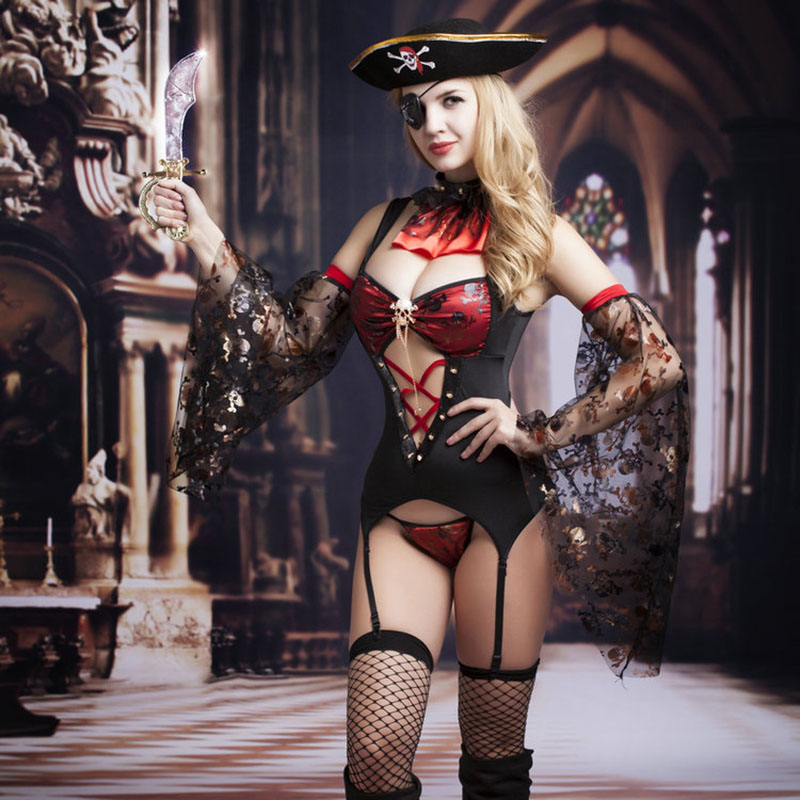 New Porn Women Lingerie Sexy Hot Erotic Pirate Costume Cosplay Sexy Black Underwear Hollow Out Erotic Lingerie Porno Costumes