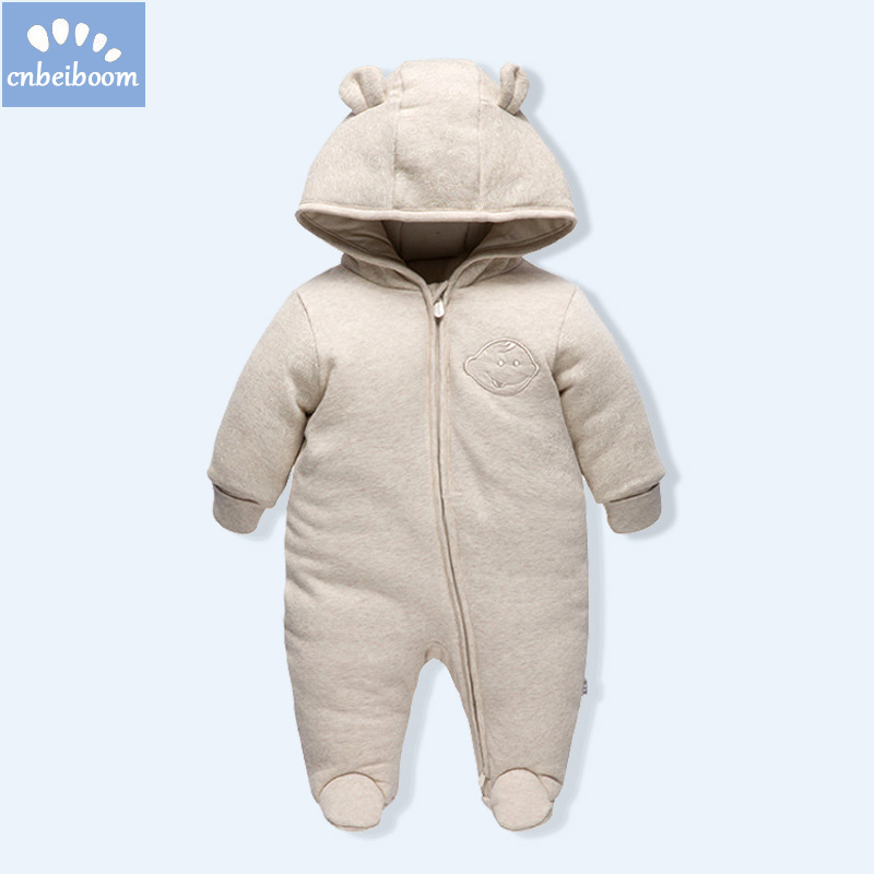 Winter Baby Rompers Clothes Long Sleeved Newborn Boy Girl organic cotton toddler Jumpsuit Infant kids warm Clothing for 0-18M цена
