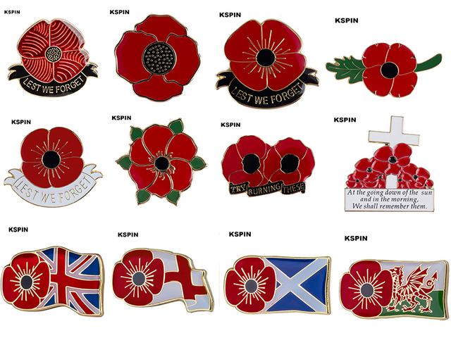 Poppy Flower Lapel Pin Badge 5pcs A Lot Pin Badge Brooch Icons In