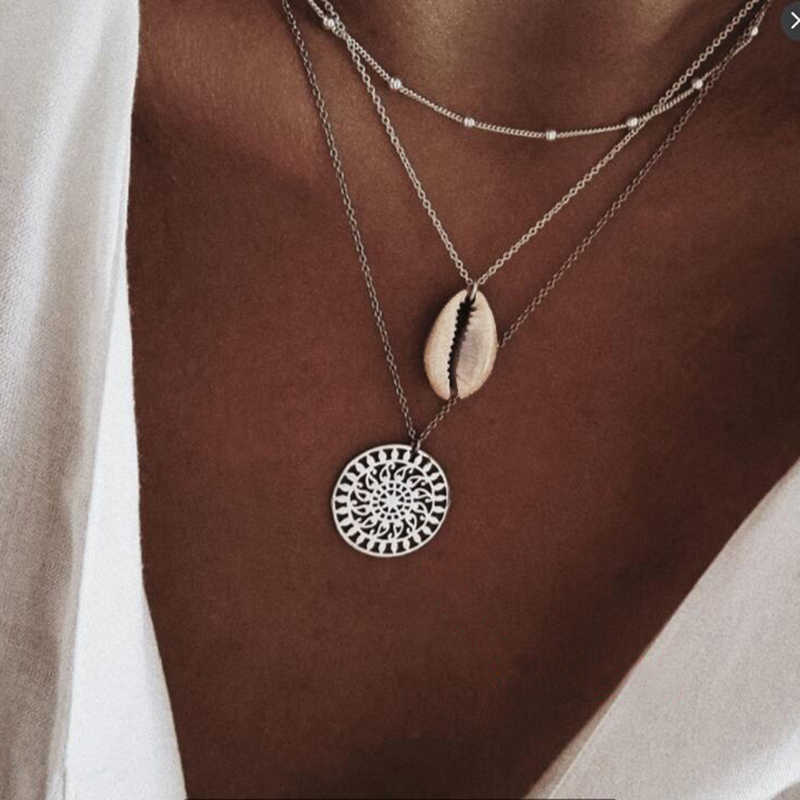 Three Layers of Shell Pattern Pendant Necklaces Natural Shell Gold Women Seashell Multilayer Choker Necklace Bohemian Jewelry