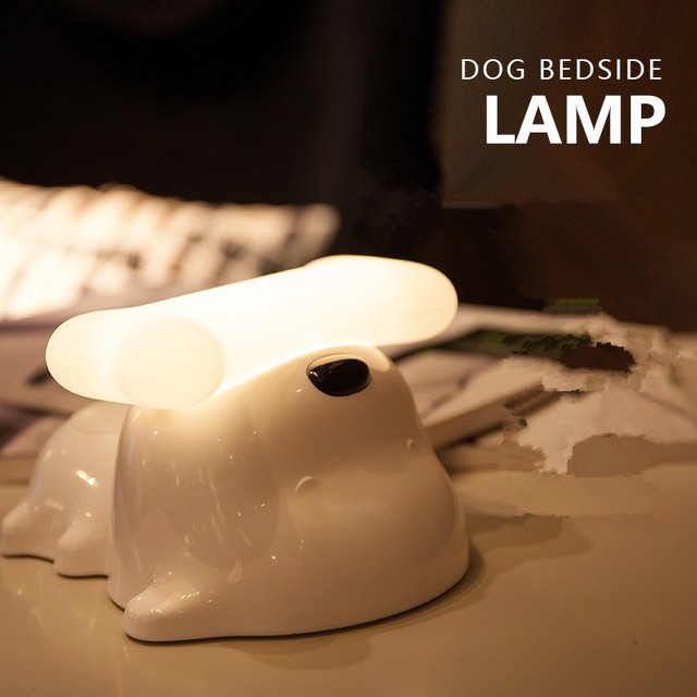 Cute Dog Bedside Touch Sensor Lamp USB Dimmable Doggy Night Light Puppy LED Light for Baby/Kids Bedroom Dog Bone Desk Night Lamp