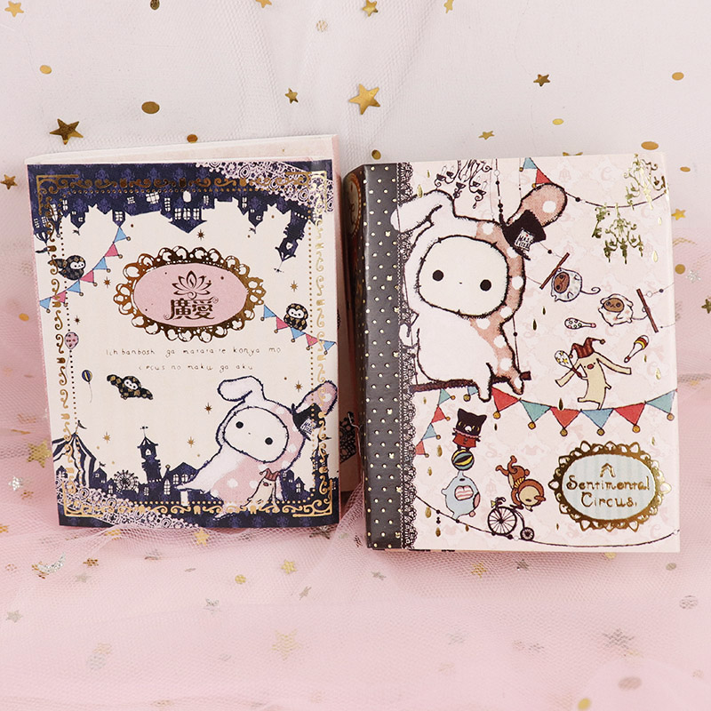 Cute Kawaii Cartoon Animal Circus Rabbit Notepad Memo 6 Fold N Times Sticker Notes Pad Notebook School Stationery Girl Gift