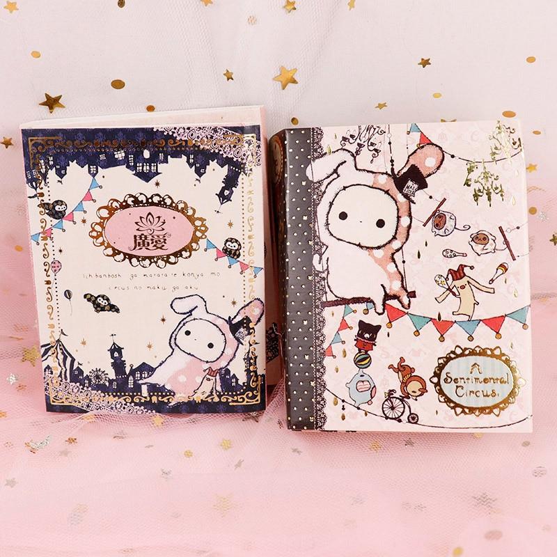 Cute Kawaii Cartoon Animal Circus Rabbit Notepad Memo 6 Fold Sticker Notes Pad Post It Notebook School Stationery Girl Gift