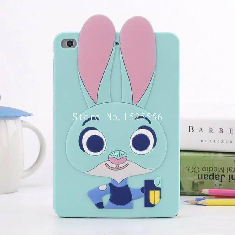 Super Cute Crazy animal City 3D Judi Rabbit Cover For IPAD Mini 1 2 3 Soft Silicone Case For IPAD Mini2 Cover