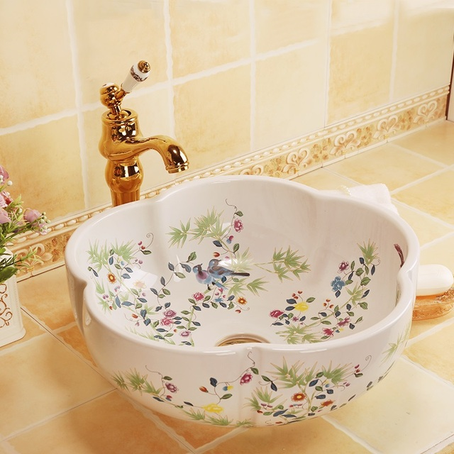 Counter Top Vitreous China Wash Basin Bathroom Sinks Decorative Sinks  Bathroom Vessel Sinks