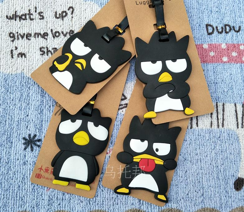 Black Penguin Anime Travel Accessories Luggage Tag Suitcase ID Address Portable Tags Holder Baggage Label Gifts New