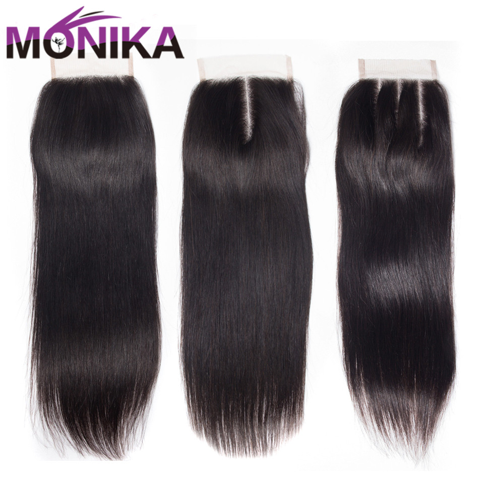 Monika Hair Brazilian Straight Hair Lace Closure Free/Middle/Three Part Human Hair 4x4 Swiss Lace Front Closure ...