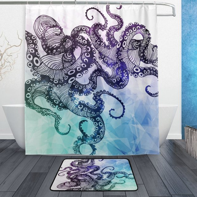 Octopus Sea Monster Shower Curtain And Mat Set Ocean Animal Geometric Style Waterproof Fabric