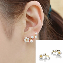 South Korean New Shell Flowers Pearl Simple Tree Earrings Temperament Fashion Female Christmas Jewelry