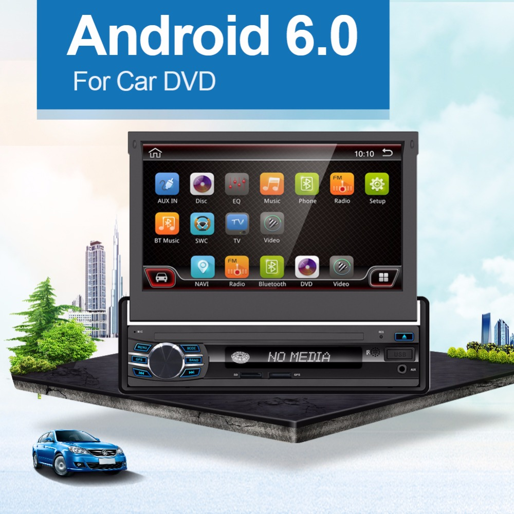 One din 7'' Universal Car DVD Player GPS Navigation 1 din Android 6 Car Stereo Bluetooth Car Radio Audio Player USB +Free camera