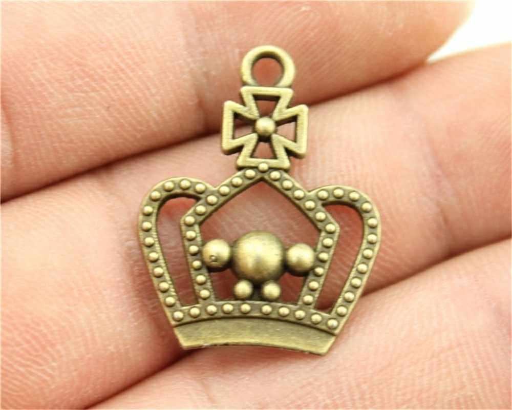 20 шт Шарм Корона Винтаж, античная бронза цвет подвеска в виде короны Ювелирная диадема Шарм ювелирные изделия аксессуары