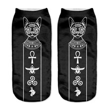 RUNNING CHICK black cat 3d print funny socks wholesale(China)