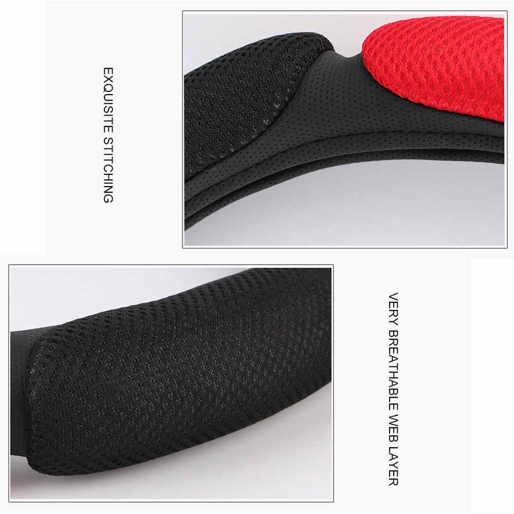 Противоскользящие рулевого колеса автомобиля крышки 3D дизайн/дышащей сетки Автомобильный руль Braid протектор Универсальный 38 см/15 дюймов