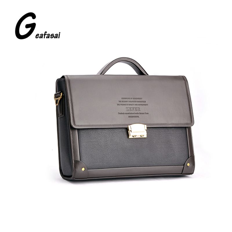 COUPON soild brown good Leather Zefer Male handbag Man laptop Business office Working Briefcase Shoulder bag metal lock letter
