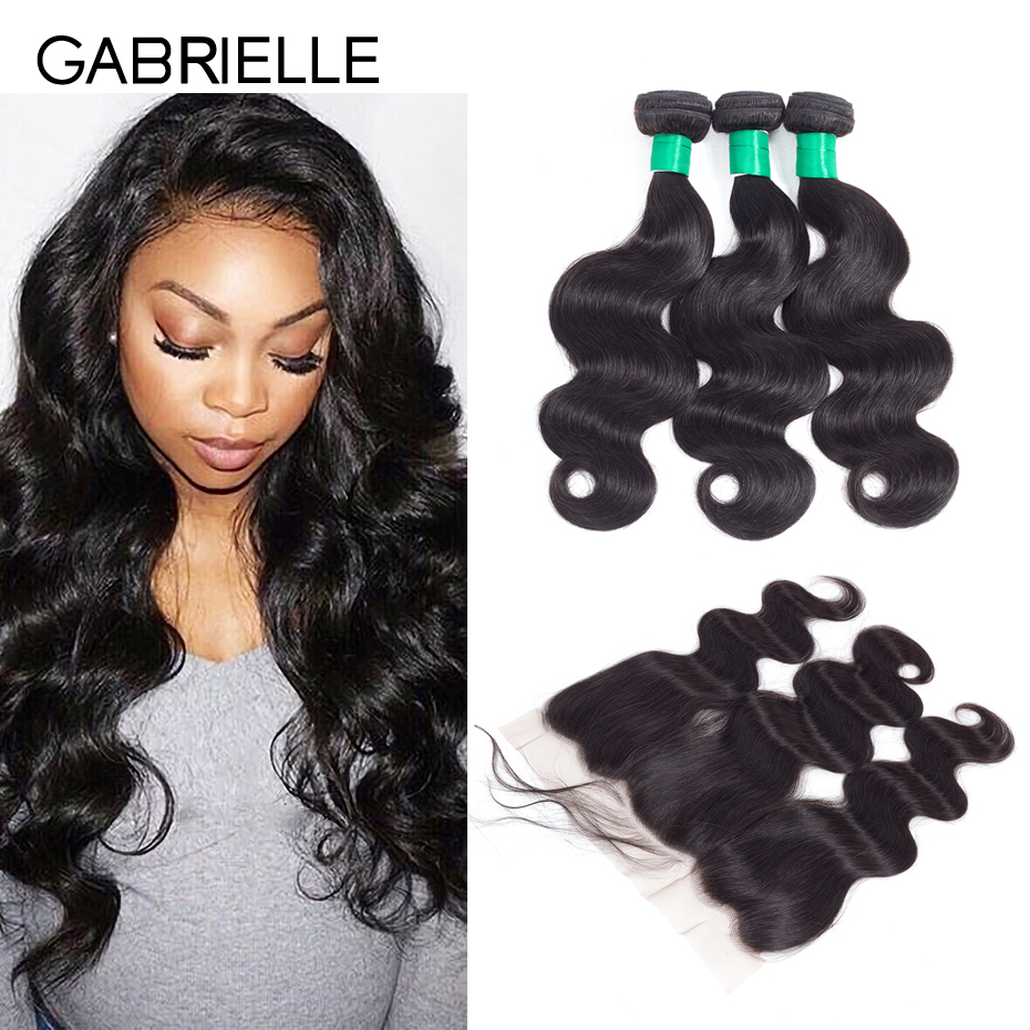 Gabrielle Brazilian Body Wave 13x4 Lace Frontal with 3 Bundles 8-28 inch Natural Black Non Remy Human Hair Weaves Free Shipping