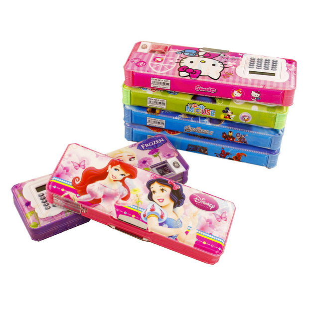 US $7 99  Disney Mickey Student Cartoon frozen stationery Box  Multifunctional Calculator Triangle Ruler Pencil Case Box for kids gift-in  Pencil Cases
