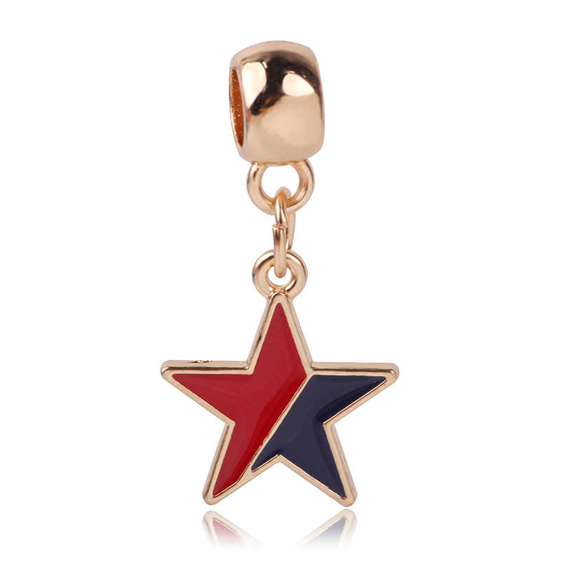 AIFEILI New Hot Personality Bracelet Gift European Pendant Charm Beads Rose gold Jewelry Fit Pandora Purse Star Mickey Blue