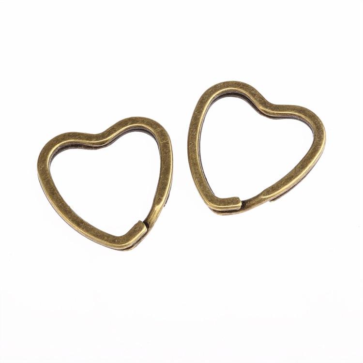 5 шт. Новый бронзовый тон сердца ключ Разделение Кольца брелок держатель 31 мм ювелирных изделий Бесплатная доставка