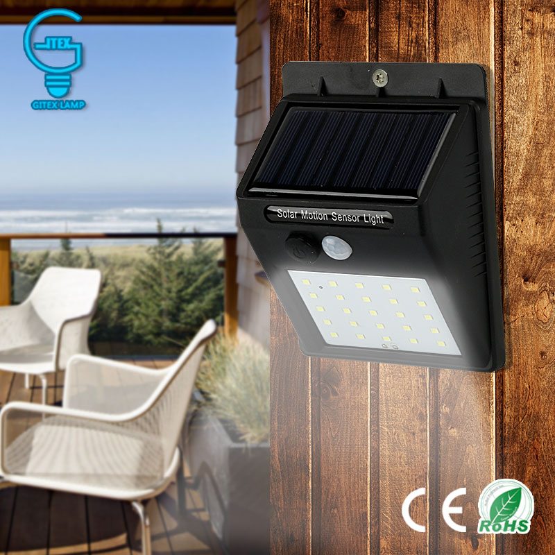 Gitex 6/25 LED Solar Lamp PIR Motion Sensor Wall Light Waterproof LED Solar Light Energy Saving Outdoor Garden Security Lamp
