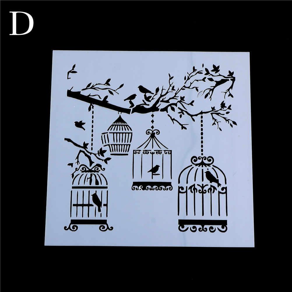 Diy クラフトレイヤリングケージツリー brids ステンシル壁画のためのスクラップブッキングアルバム装飾紙カード