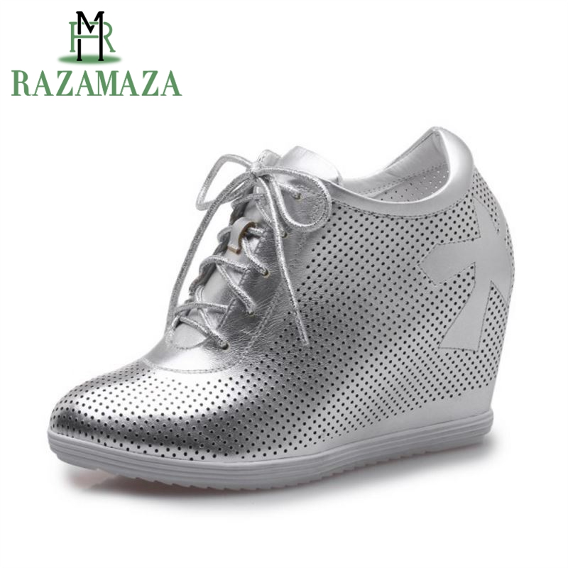 RAZAMAZA Simple Women Real Genuine Leather Inside Heel Pumps Cross Strap Hallow Out High Wedges Shoes Women Footwears Size 34-39 women real genuine leather stiletto wedges high heel shoes brand sexy fashion pumps ladies heeled shoes size 34 40 r6011