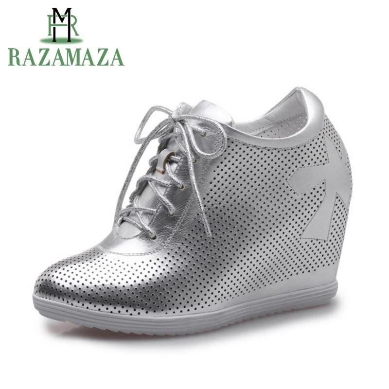 Razamaza простой Для женщин из натуральной кожи внутри пятки на танкетке, с перекрестными ремешками святить из обувь на высокой танкетке женска...