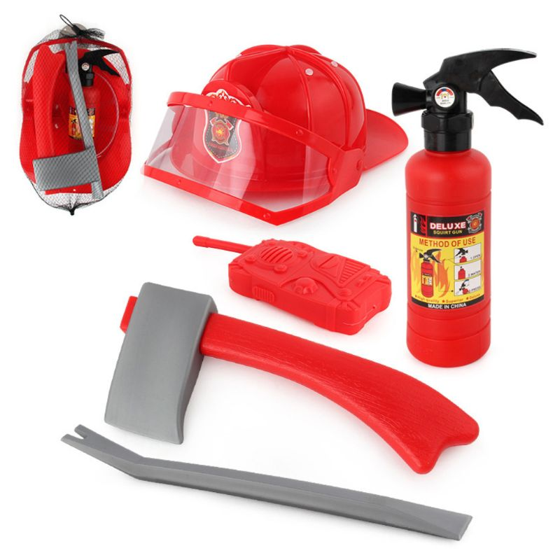 5Pcs/set Children Firefighter Fireman Cosplay Toys Kit Helmet Fire Extinguisher Intercom Axe Wrench Best Gifts For Kids