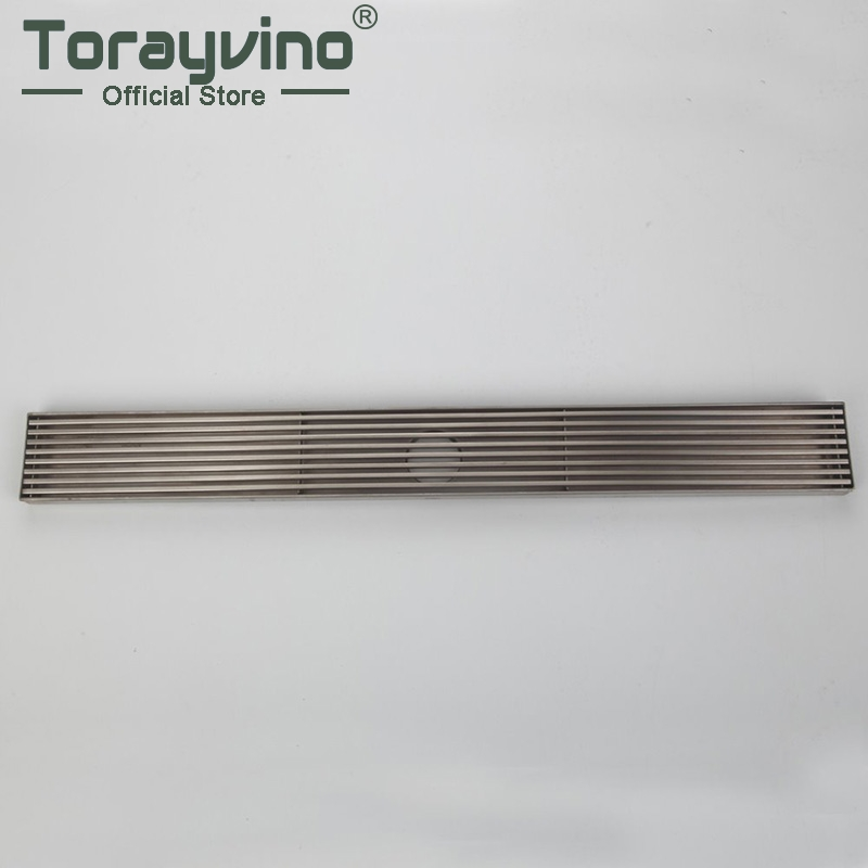 Brushed Stainless Steel Long Bathroom Floor Drain Waste Great Shower Drainer Rectangle Floor Waste Drainer Pop up Drain купить