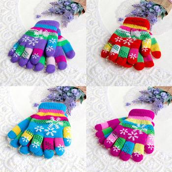 Jesienno-zimowa dziecięca dwuwarstwowa zagęszczona śnieżna drukowana kolorowa przędza rękawiczki robione na drutach tanie i dobre opinie COTTON Knitting Yarn Drukuj Dla dzieci Unisex 2S3366-1116 13cm 5 12inches