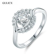 GULICX 2017 Size 9 New Fashion Eye Shaped White Gold-color Ring Crystal CZ Zirconia Wedding Ring for Women Jewelry R170(China)